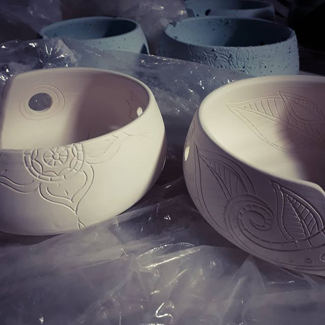 I've been under the weather, and throwing bowls then free carving patterns illustrates how amazing the healing power of art can be. I feel so much better! I can't wait to see how they turn out. #yarnbowls #ceramics #wheelthrown #AlbertaMade - from Instagram