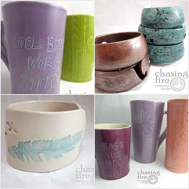 See you Saturday!Repost from @fibreshindig -  @chasingfirestudio make gorgeous ceramic yarn bowls, mugs and tools for fibre artists. They also have suede slipper soles for safer walking! Their generous sized mugs often feature a sassy saying, letting people know how you feel!!Come and see all the fabulous carving and glazed finishes in person at The Fibre Shindig this Saturday at Hillhurst Sunnyside community centre from 10am....#fibreshindig #fibreshow #fibrefestival #yycfestivals #yycshoplocal #yycshopping #yycpotter #ceramicyarnbowl #ceramicartist #handmademug #handmade #yarnbowl #sheepmug #knittergift #giftideas #xmasiscoming - from Instagram